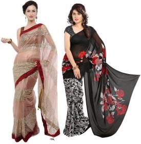 RockChin Fashions Plain, Printed Bollywood Net, Art Silk Sari Pack Of 2