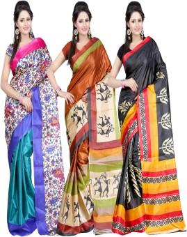 Kajal Sarees Self Design Bollywood Art Silk Sari Pack Of 3