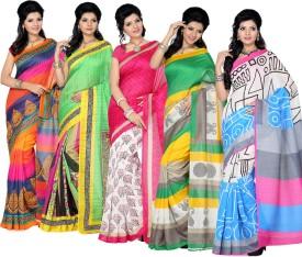 Ishin Printed Fashion Silk Sari Pack Of 5