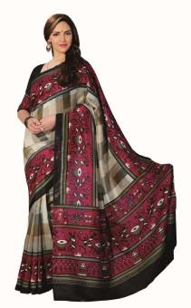 Sudarshan Silks Geometric Print Bhagalpuri Handloom Art Silk, Georgette, Silk Sari