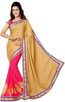 Sareeka Sarees Floral Print, Plain Bollywood Georgette Sari