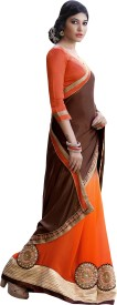 Khoobee Self Design, Embellished, Embriodered Fashion Georgette Sari