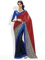 Vishal Floral Print, Striped Silk Sari