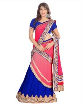 Vanya Designer Self Design, Solid Lehenga Saree Georgette, Chiffon, Art Silk Sari