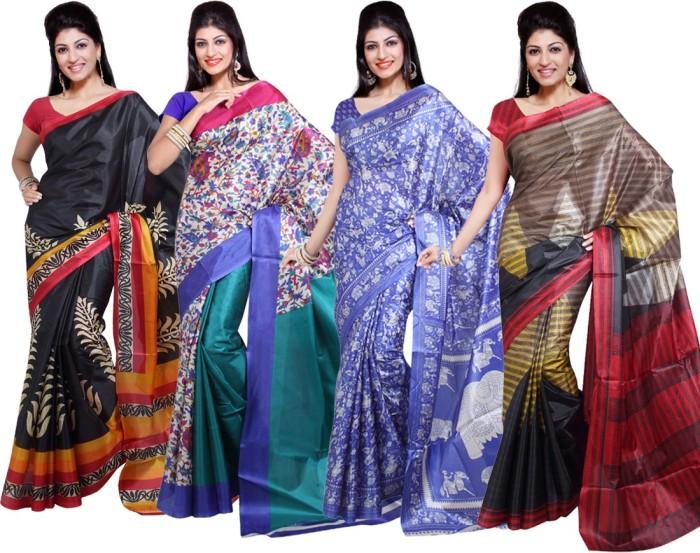 Ishin Printed Art Silk Sari (Pack Of 4)