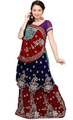 M.R.C Embellished Lehenga Saree Handloom Net, Brasso, Velvet Sari available at Flipkart for Rs.9770