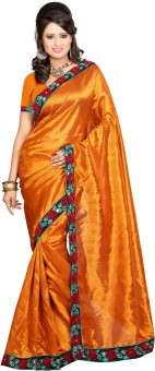 Pooja Prints Embroidered, Solid Embroidered Embellished Georgette Sari