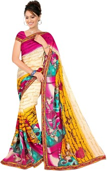 Fashion Designer Sarees Self Design Fashion Georgette Sari
