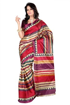 Kajal Sarees Striped Embellished Georgette Sari