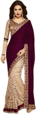 Bollywood Saree NJ Fabric Self Design Bollywood Velvet, Brasso Sari (Multicolor)