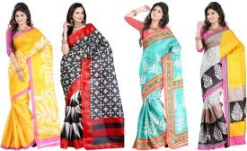 King Villa Printed Bhagalpuri Cotton Linen Blend Sari Pack Of 4