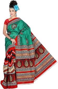 Shatabdi Paisley, Printed Bhagalpuri Handloom Silk Sari