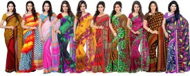 Ambaji Floral Print, Polka Print Daily Wear Georgette, Net Sari Pack Of 10