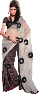 Fabdeal Printed Embroidered Embellished Net, Crepe Sari available at Flipkart for Rs.3681