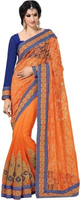 Fashion Craftstrail Fashion Self Design Fashion Net Sari (Orange)