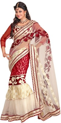 Fabdeal Printed Embroidered Embellished Net Sari available at Flipkart for Rs.7039