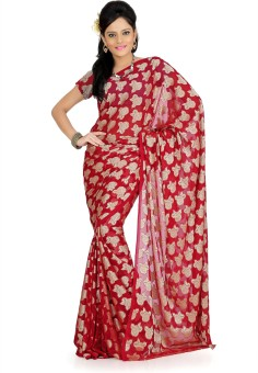 Designersareez Floral Print Georgette, Jacquard Sari