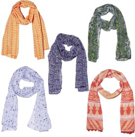 Weavers Villa Printed Set Of 5 Premium Soft Summer Vibrant Coloured Trendy Women's Scarf