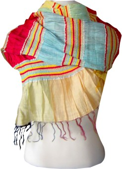 Dushaalaa Striped Silk, Coton, Lycra Women's Scarf