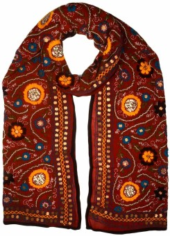 Shopatplaces Embroidered Chanderi Silk Women's Scarf - SCFE4CA5FWZZHBZB