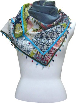 Dushaalaa Embroidered, Floral Print Cotton Women's Scarf