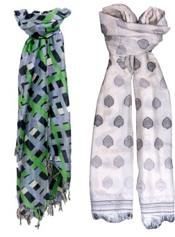 Indistar Self Design Silk, Cotton Silk Women's Scarf
