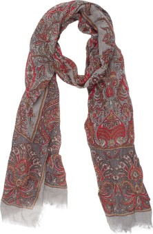 Amaryllis Graphic Print, Floral Print Wool Women's Scarf - SCFECR3NUXQTTDKR