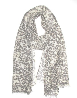 Mischika Animal Print Viscose, Cotton Crepe Women's Scarf
