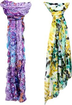 Indistar Self Design Cotton, Silk Women's Scarf