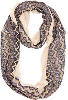 Scarves & Glitters Self Design Cotton Lace Women's Scarf