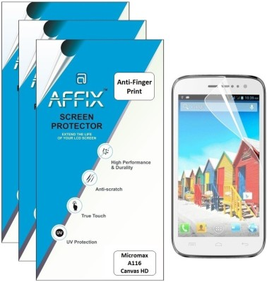 Affix P3AFP070 Pack of 3 Anti Finger Print Screen Guard for Micromax A116 Canvas HD available at Flipkart for Rs.279