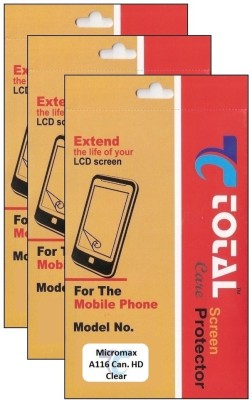 Total Care T3C085 Pack of 3 Clear Screen Guard for Micromax A116 Canvas HD available at Flipkart for Rs.345