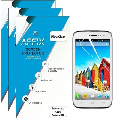 Affix AFP3UC070 Pack of 3 Ultra Clear Screen Guard for Micromax A116 Canvas HD available at Flipkart for Rs.279