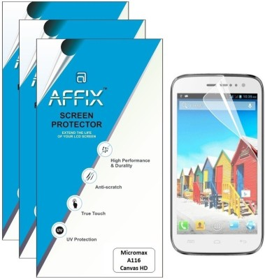 Affix P3MT070 Pack of 3 Matte Screen Guard for Micromax A116 Canvas HD available at Flipkart for Rs.279