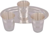 Amba Handicraft Glass Tray Serving Set (Pack Of 4)