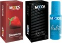Moods Strawberry & Ribbed With Lube - Pack Of 3