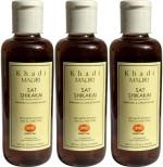 Khadi Mauri Shikakai Sat Shampoo with Bhringraj Extracts Pack of 3 Herbal Ayurvedic Natural 210 ml each