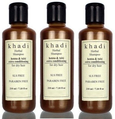 Khadi Herbal Henna & Tulsi Extra Conditioning Shampoo (SLS, Sulfate & Paraben Free) (630 Ml)
