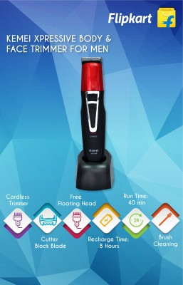 kemei Xpressive Body & Face KM-1008 Trimmer For Men (black, red)