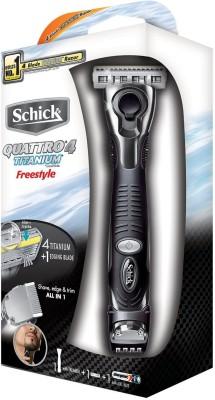 Schick Quattro Titanium Freestyle A 3-In-1 Razor Trimmer For Men (Black)