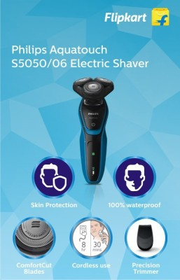 Philips AquaTouch S5050/06 Shaver For Men (Black and Blue)