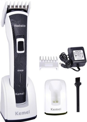 Kemei Washable Body Groomer KM-6166 Trimmer For Men (Black, Silver)