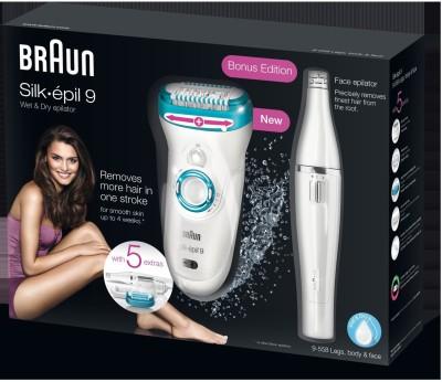 Braun Silk-epil Series 9 9558 Epilator for Women (White/Blue)