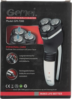 Gemei Rechargeable GM-7300 Shaver For Men (Black)