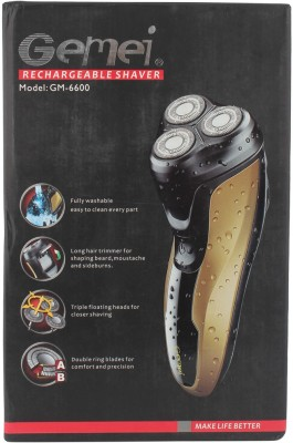 Gemei Rechargeable GM-6600 Shaver For Men (Gold and Black)
