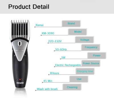 Kemei Professional KM 3090 Trimmer For Men (Black, Silver)