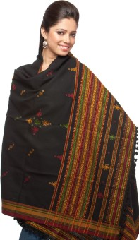 Exotic India With Bootis And Mirrors Wool Embroidered Women's Shawl - SWLE92Z4FVDGY2YS