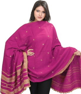 Exotic India With Bootis And Mirrors Wool Embroidered Women's Shawl - SWLE92Z4TVE5D4ZC