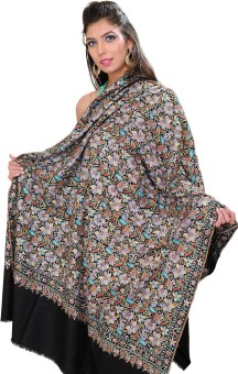 Exotic India With Intricate Flowers Pashmina Embroidered Women's Shawl
