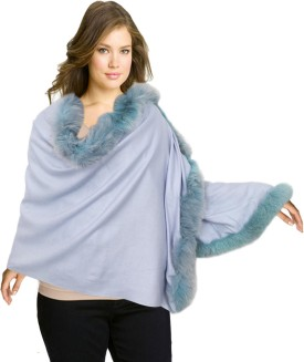 Super Drool Blue Silk Pashmina With Three Side Fur Pashmina Solid Women's Shawl